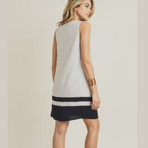 Doe & Rae Dresses - Striped Woven Shift Dress w/ Color Block H…